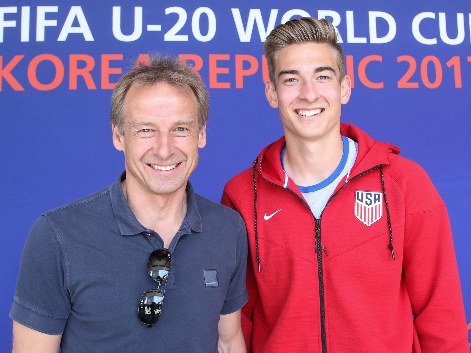 Jurgen Klinsmann and his son, Jonathan at the U-20 World Cup