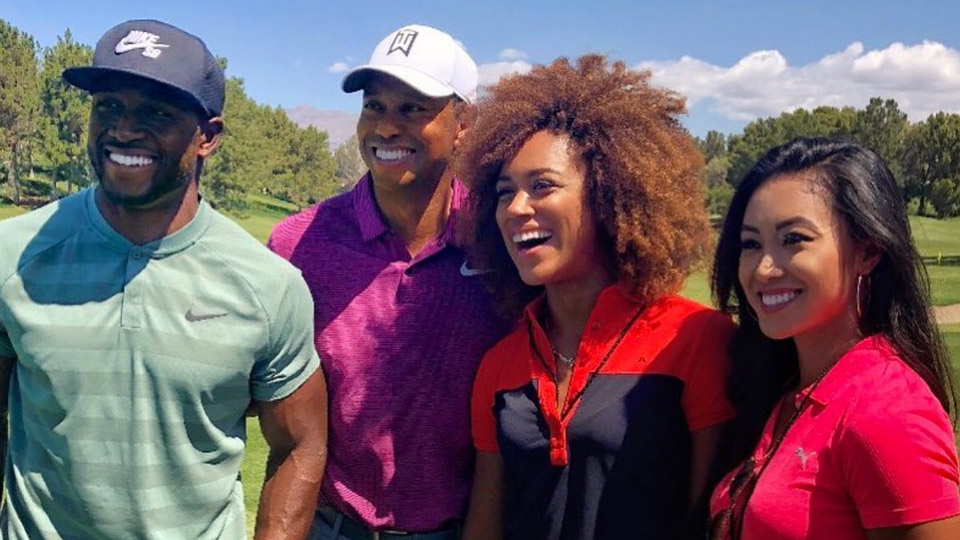 <p>Tiger poses with former NFL player Reggie Bush, World Long Drive competitor Troy Mullins, and mini-tour player Tisha Alyn Abrea.</p>