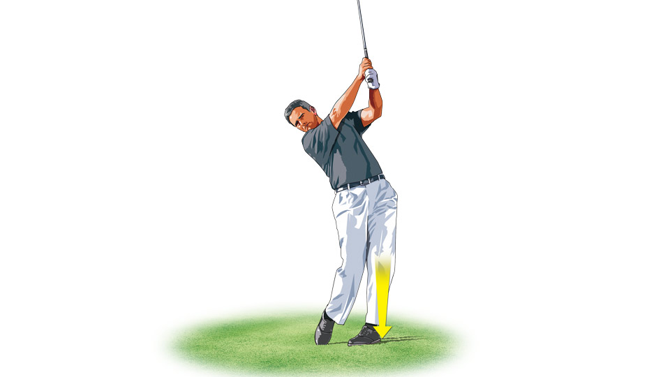 You should feel your weight centered over your front foot as you finish your swing.
