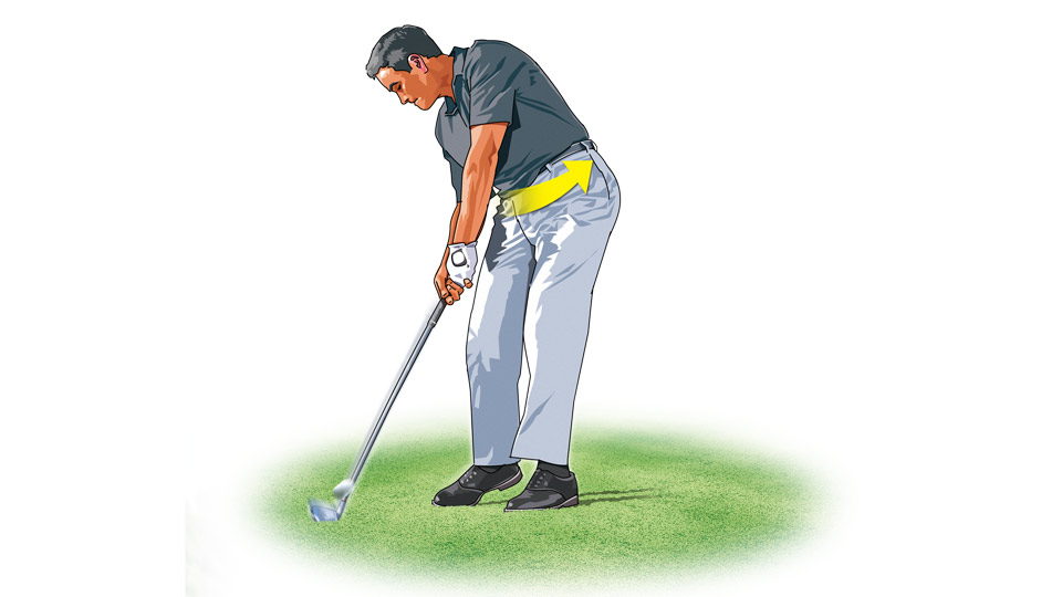 Shift your lower body toward the target first, then rotate your hips through impact.