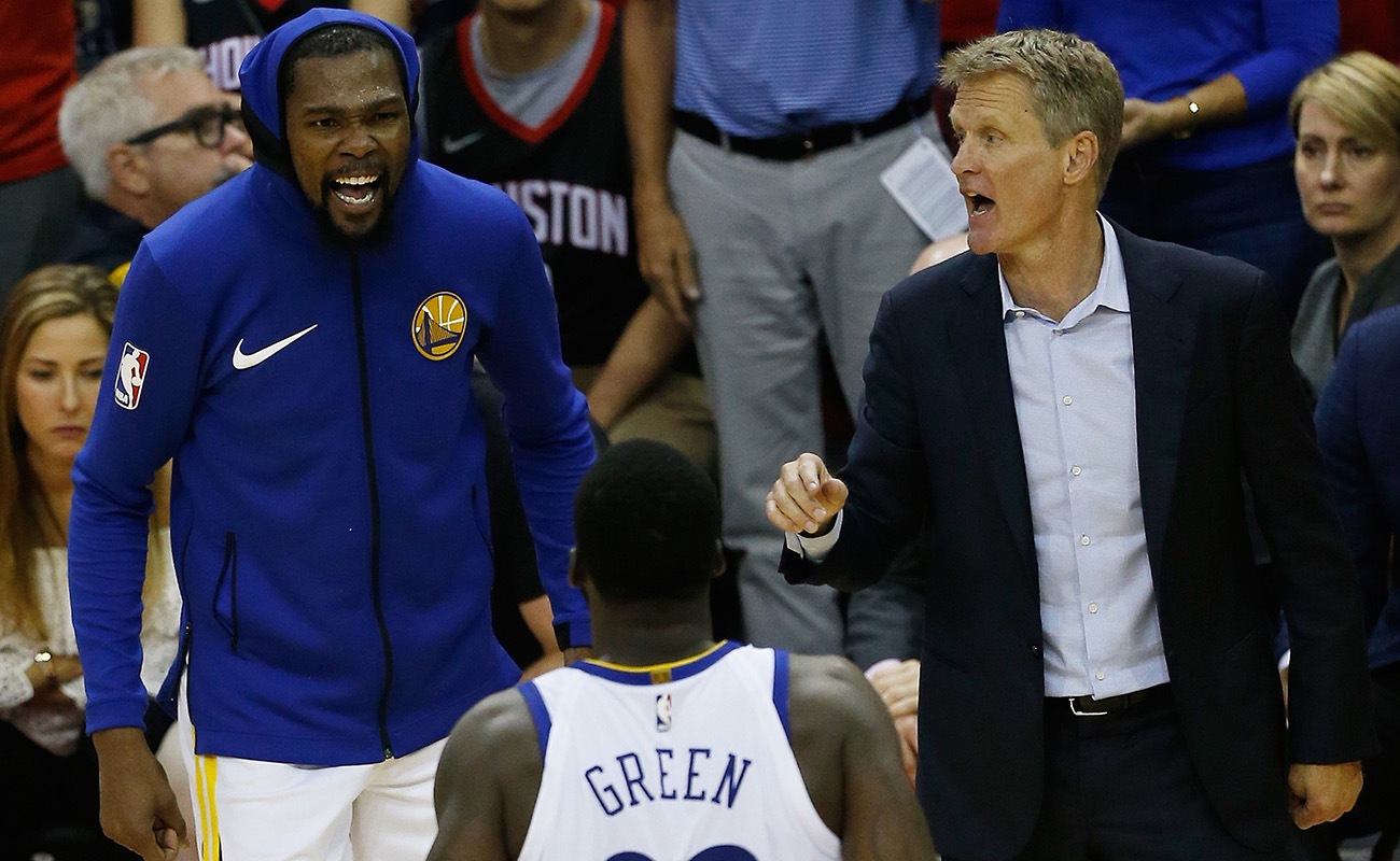 Kevin Durant, Steve Kerr and Draymond Green