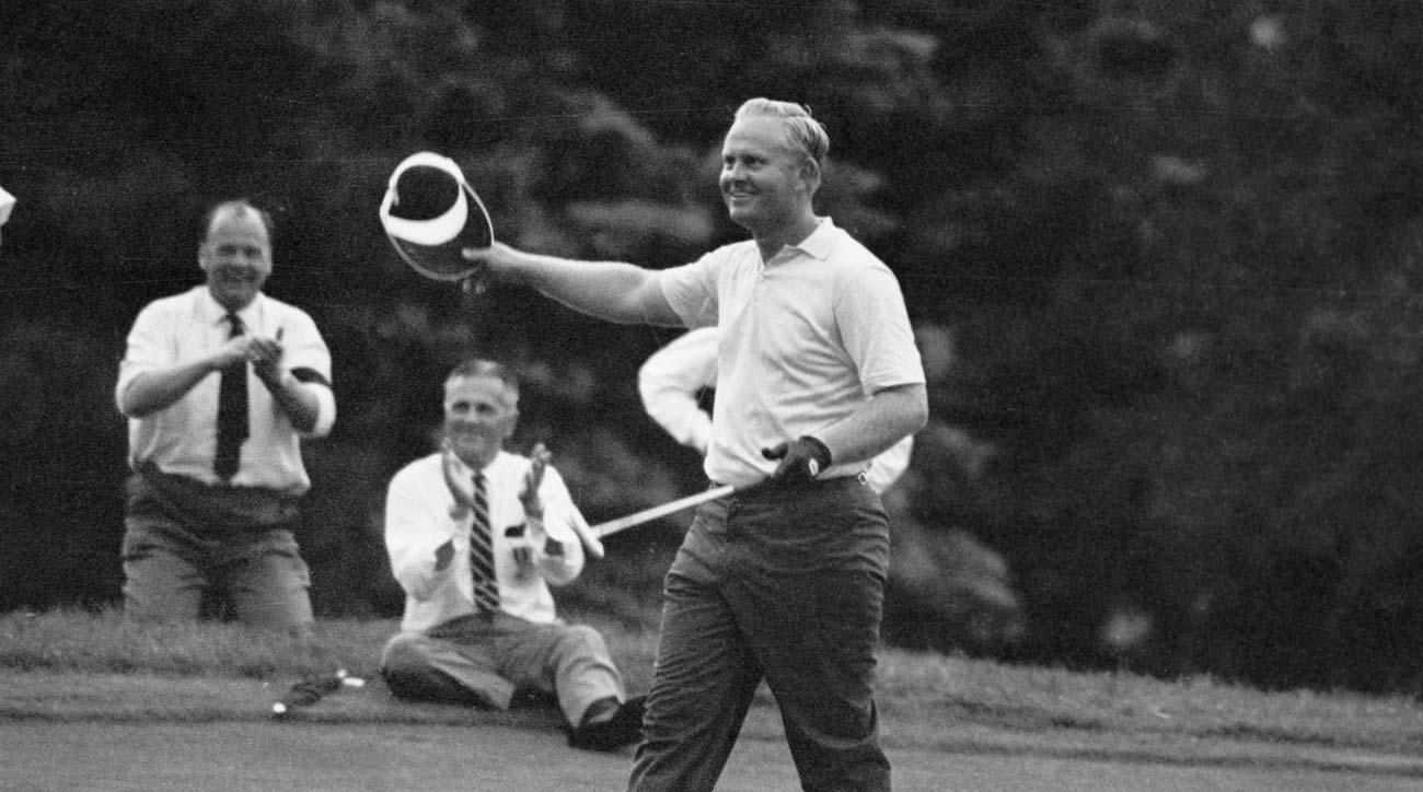Jack Nicklaus after sinking winning putt at 1967 U.S. Open at Baltusrol