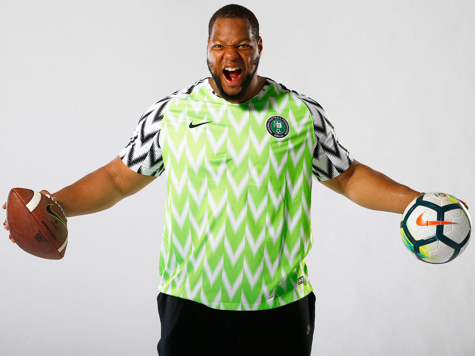 Ndamukong Suh is supporting Nigeria at the World Cup