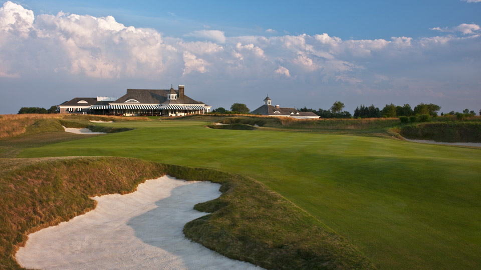 The stately clubhouse looms at Atlantic Golf Club.