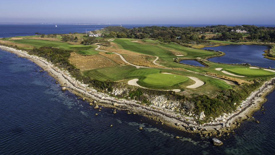An aerial view of the 10th and 13th holes at Fisher's Island.