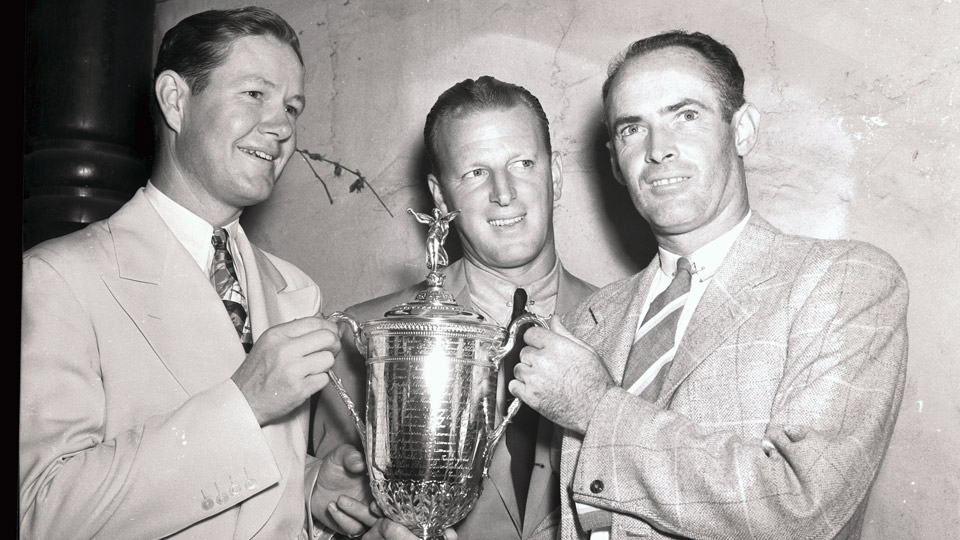Byron Nelson, Craig Wood and Denny Shute (from left to right) pose with the U.S. Open trophy before embarking on their 18-hole playoff in 1939. Nelson won, but under the new playoff rules, the title would have belonged to Wood.
