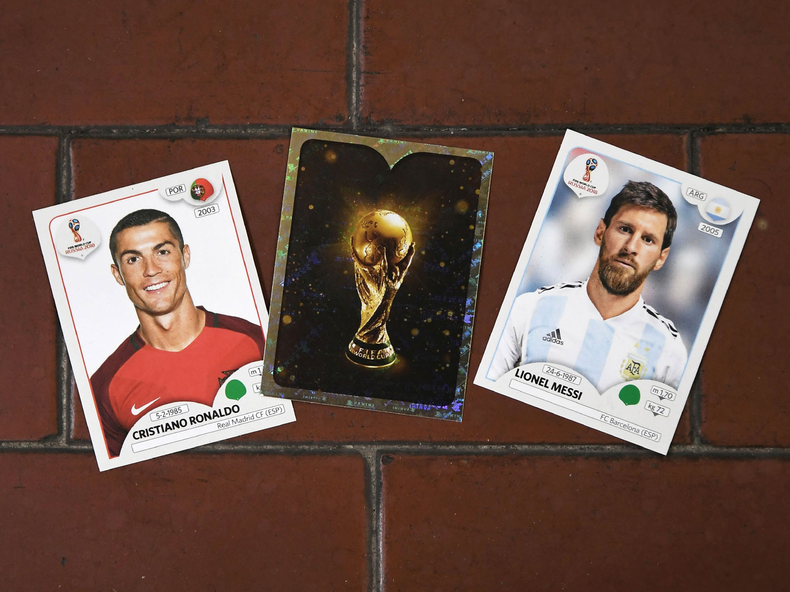 Cristiano Ronaldo and Lionel Messi's 2018 World Cup Panini stickers