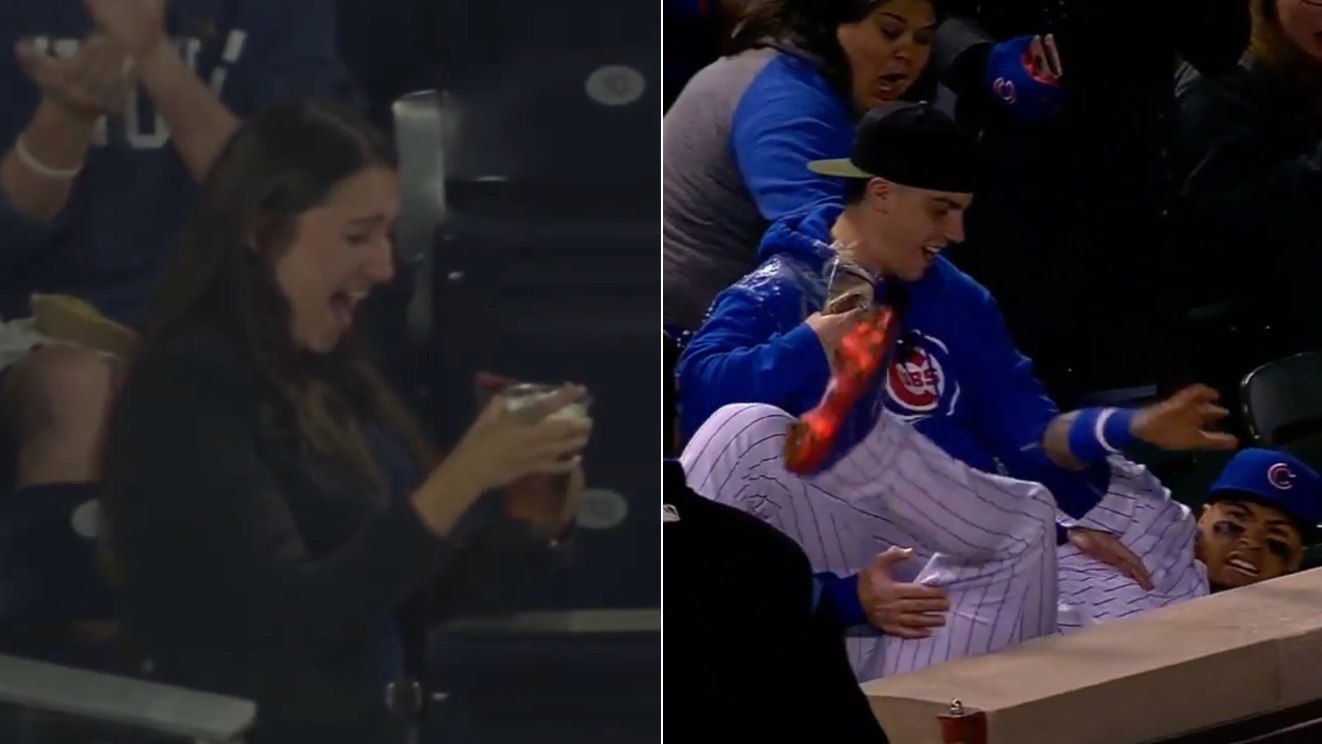 Javier Baez catch video: Fan spills beer