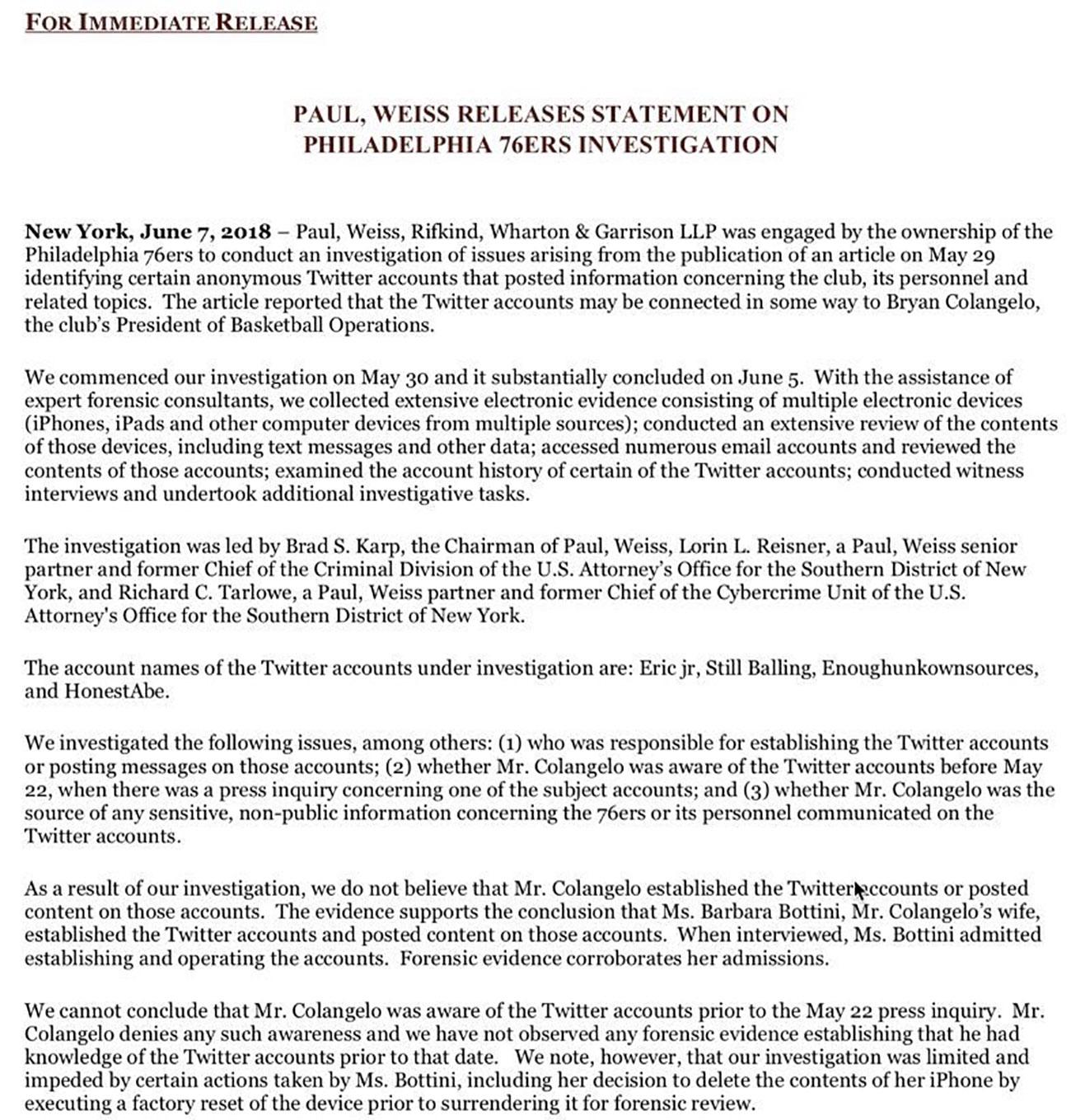 76ers investigation statement bryan colangelo barbara