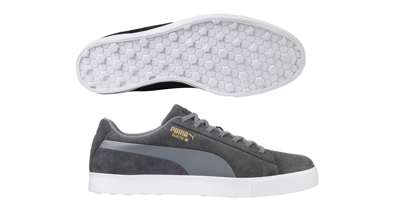 The sole of the new Puma Suede G golf shoes