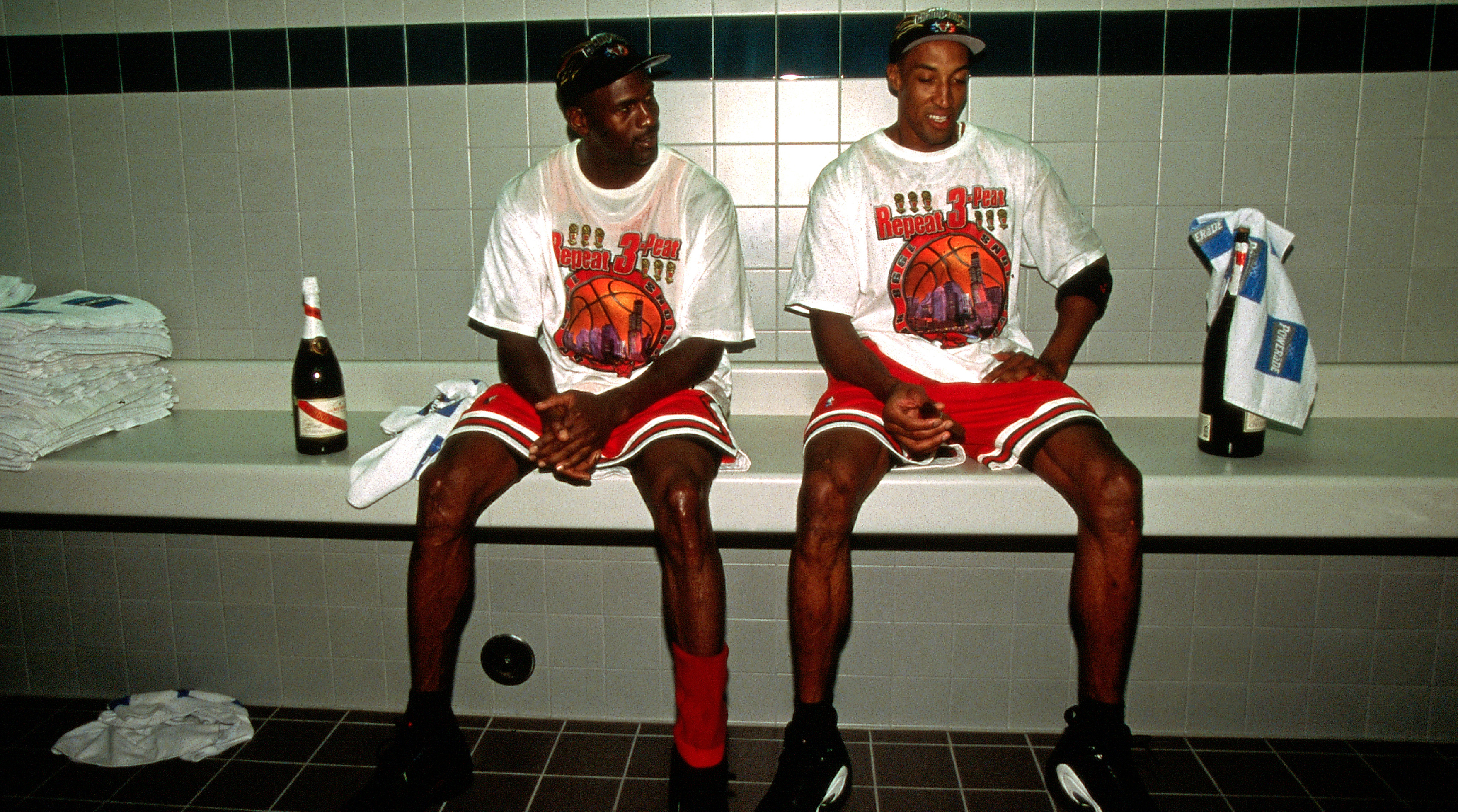 Michael Jordan and Scottie Pippen Postgame Portrait