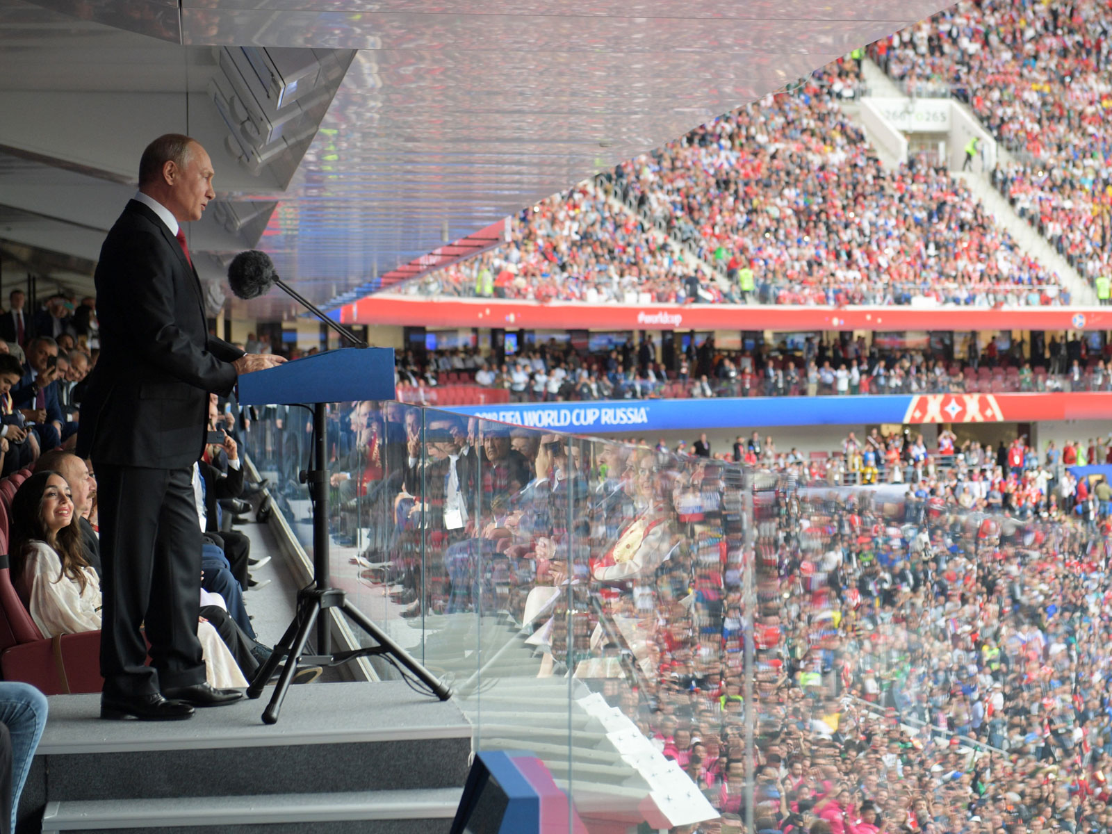 Vladimir Putin addresses the crowd at the World Cup opener