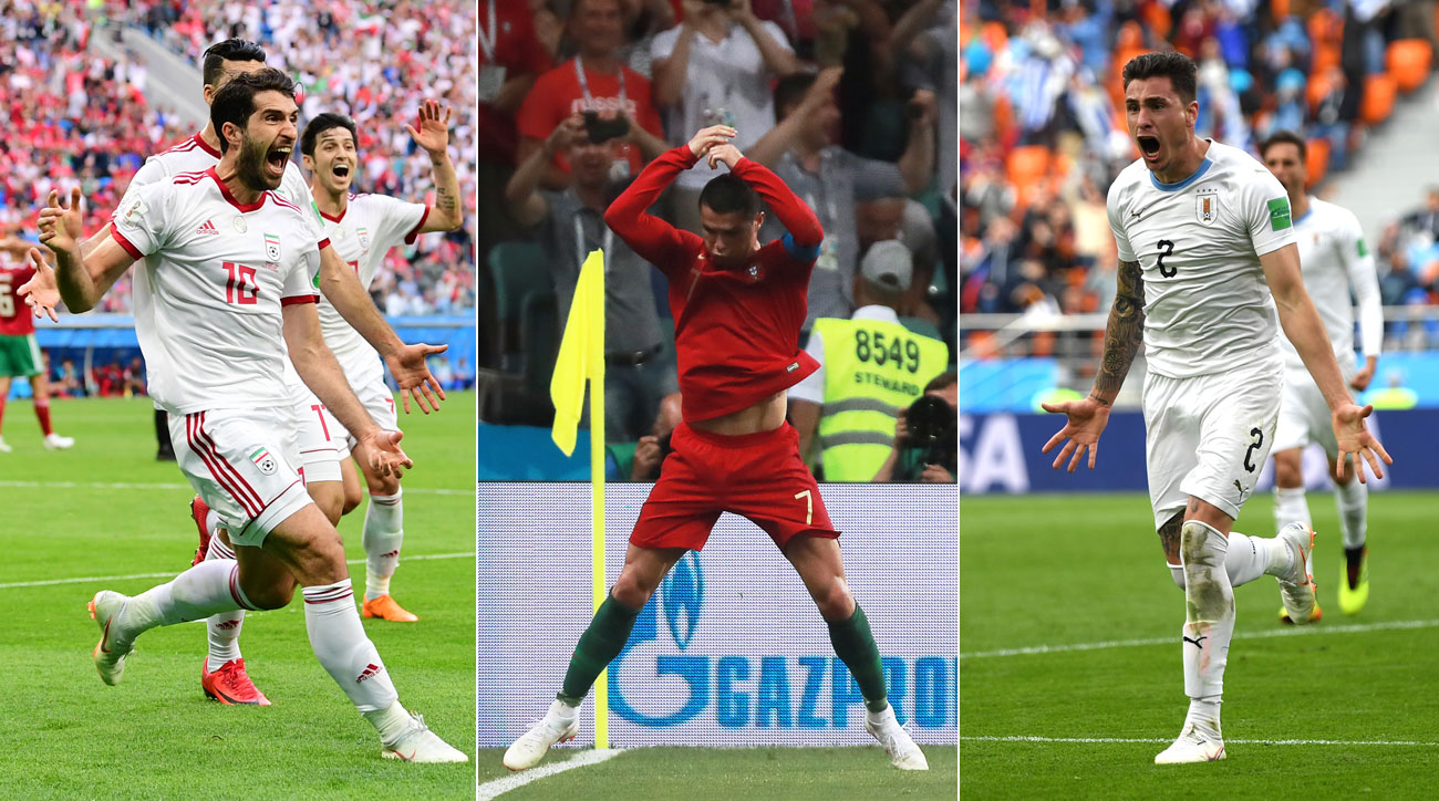 Iran, Portugal and Uruguay all benefited from late drama at the World Cup