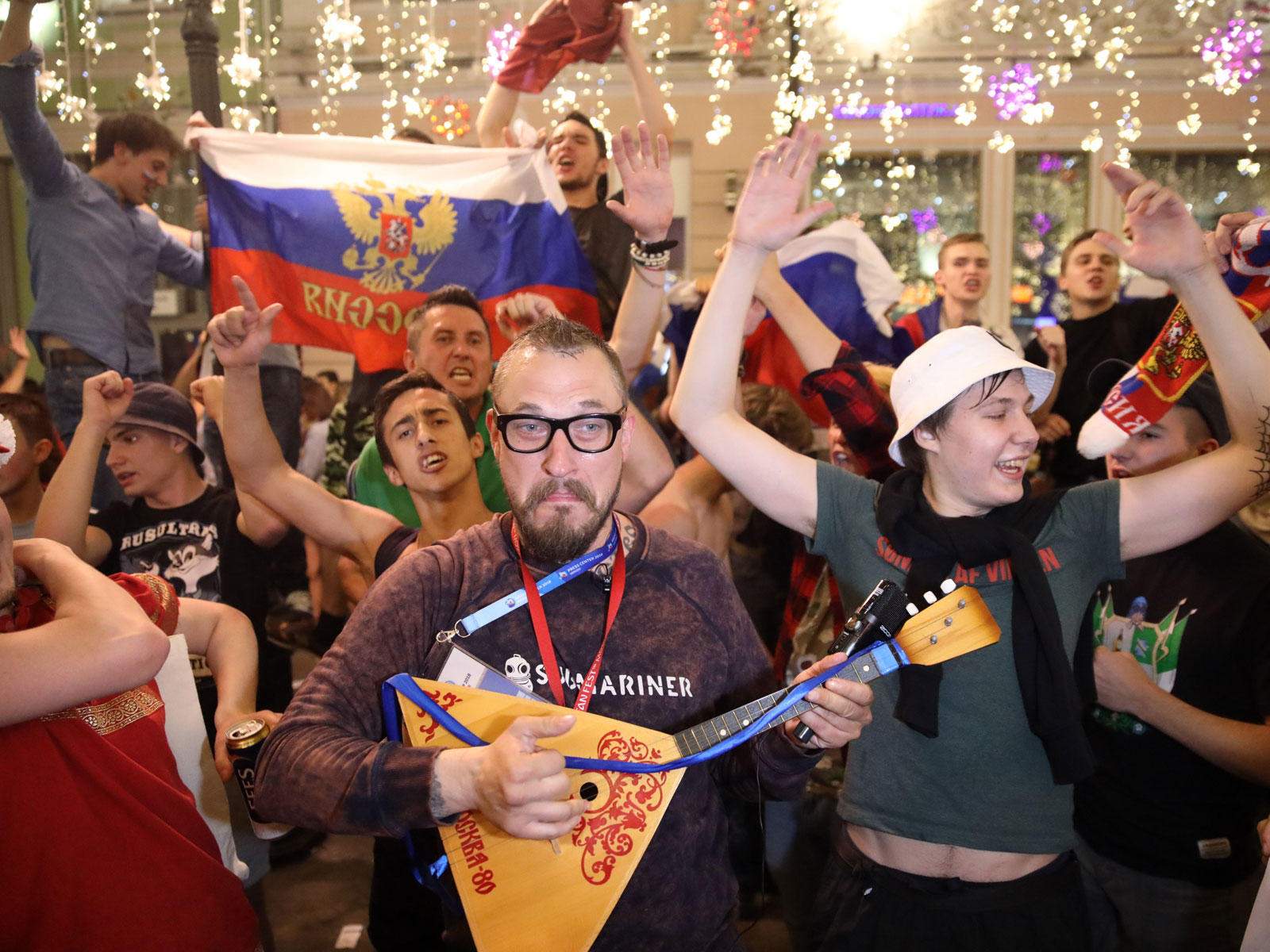 Russia fans celebrate in the streets of Moscow