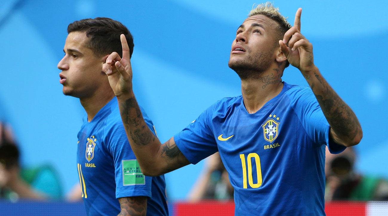 Neymar scores for Brazil vs. Costa Rica at the World Cup