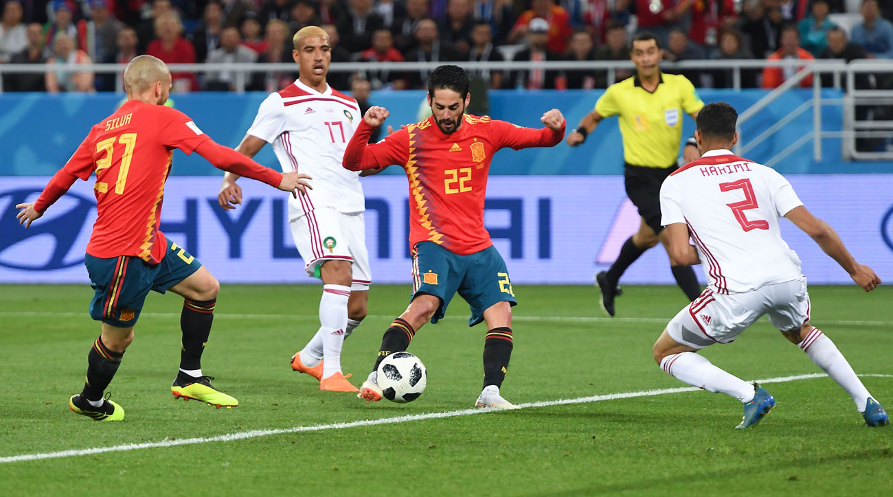Isco scores for Spain vs. Morocco