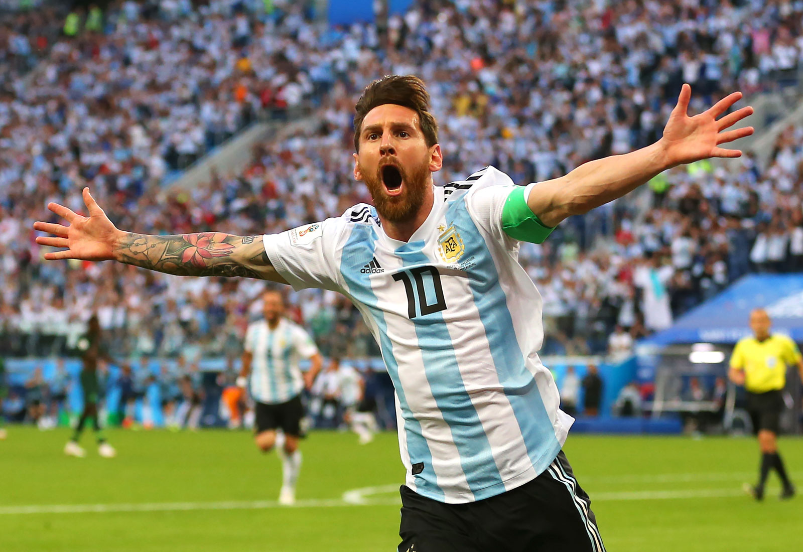 Lionel Messi scores for Argentina vs. Nigeria in the World Cup