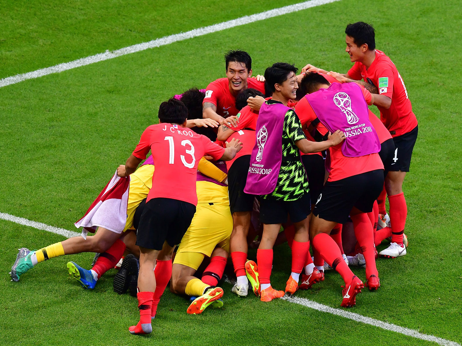 South Korea celebrates a famous win over Germany at the World Cup