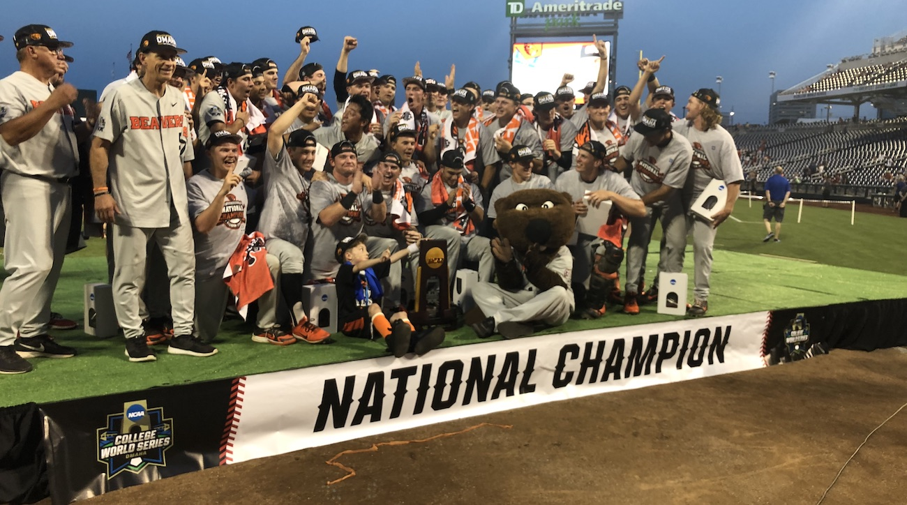 oregon state beats arkansas to claim college world series title si