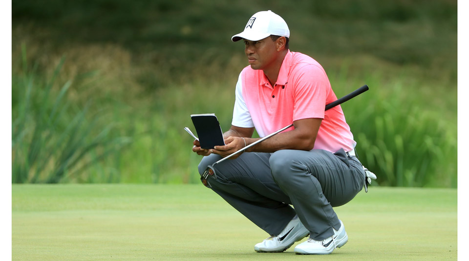 Tiger Woods put a new putter (the TaylorMade Ardmore 3 mallet) in play for the first round of the Quicken Loans National.