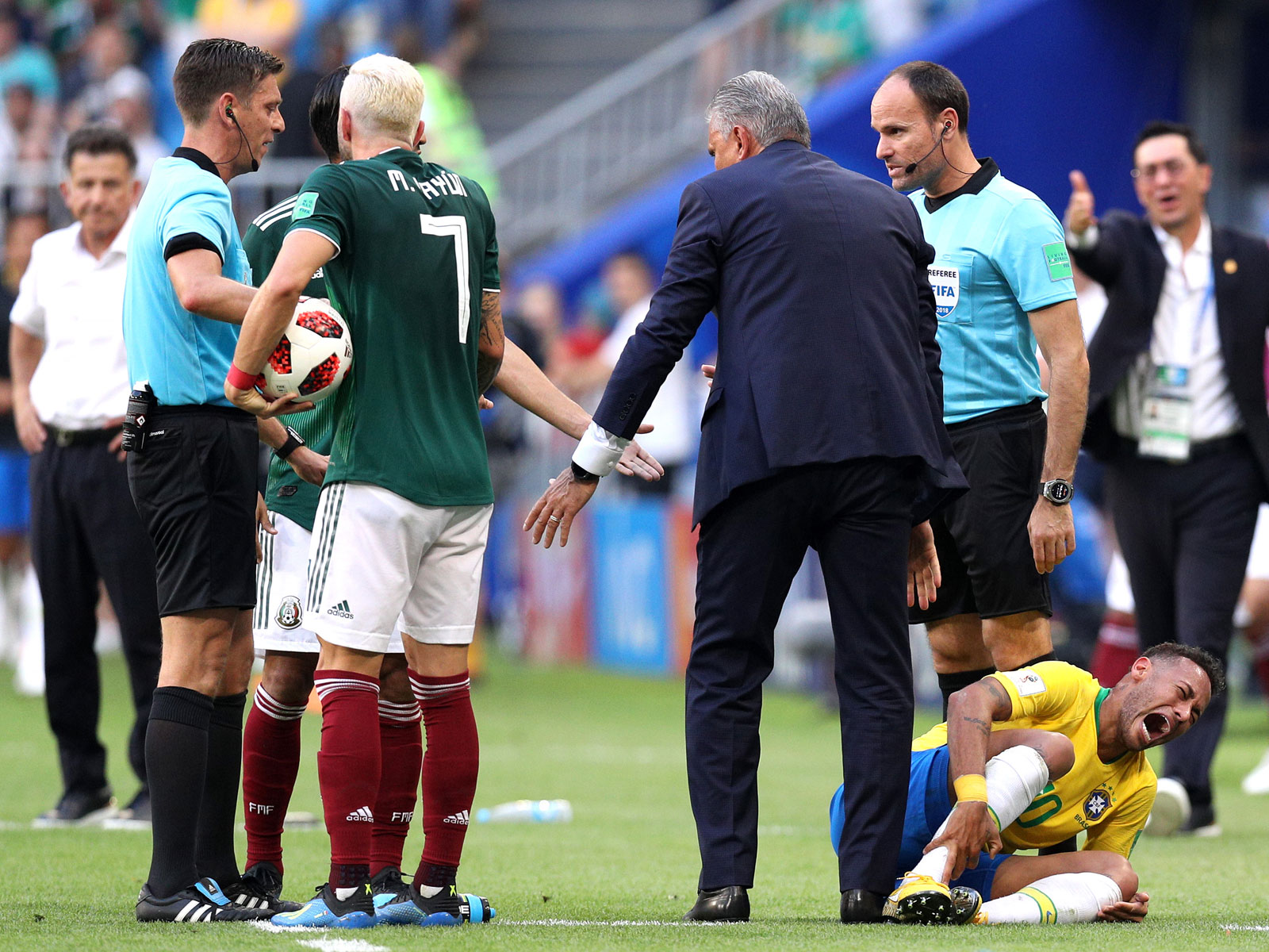 Neymar was stomped on by Miguel Layun in Brazil's win over Mexico at the World Cup