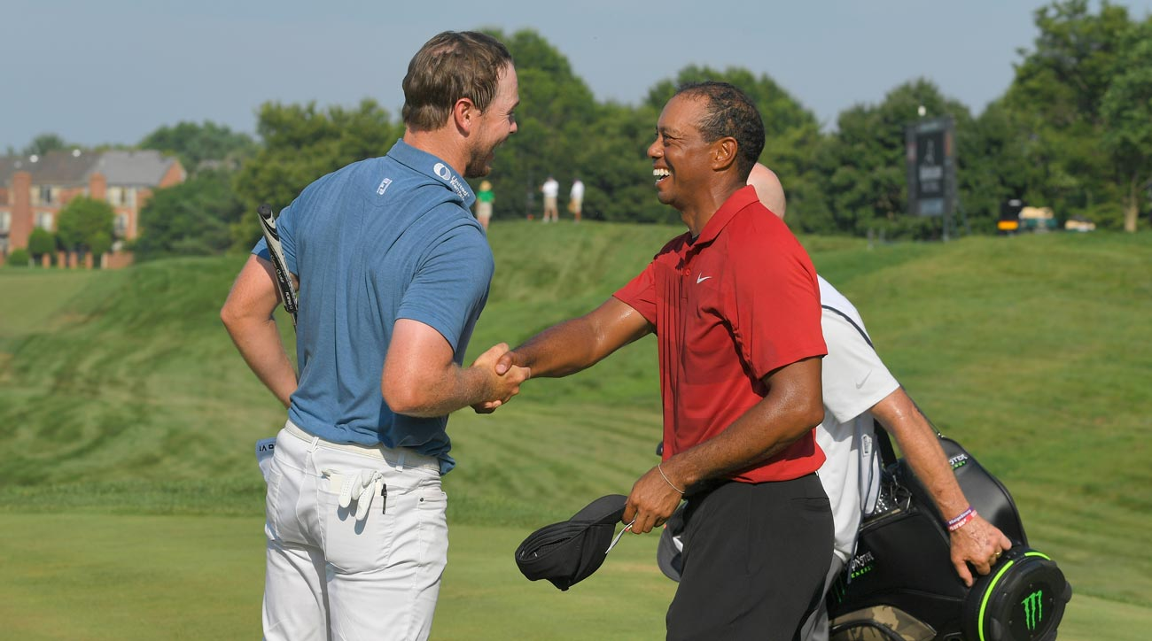 Tiger Woods and Bronson Burgoon at Quicken Loans National