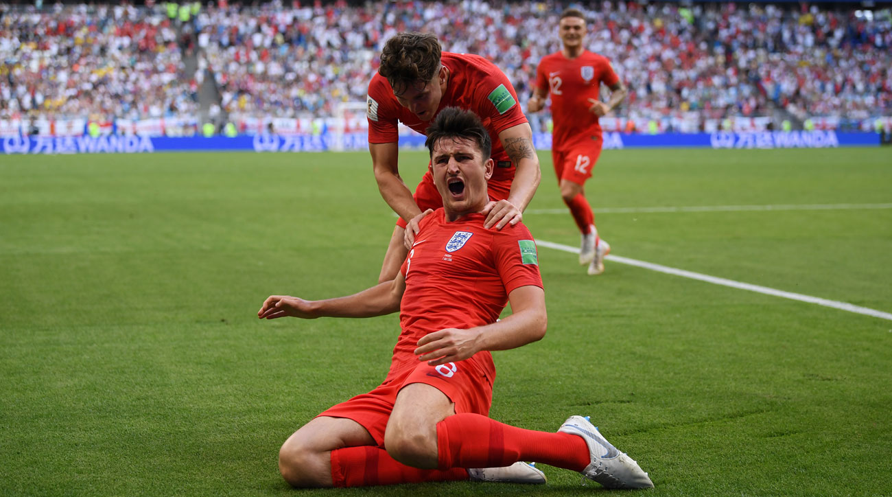 Harry Maguire scores for England vs. Sweden in the World Cup quarterfinals