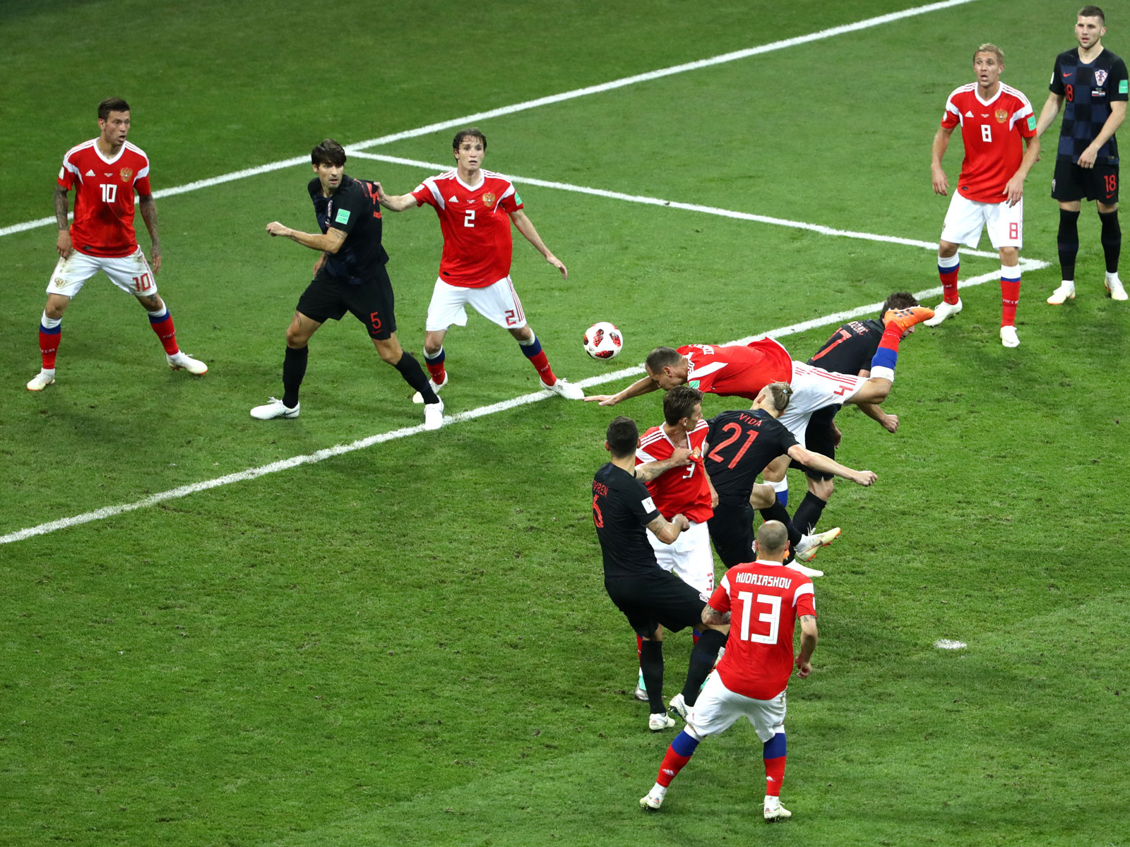 Domagoj Vida scores for Croatia in extra time against Russia in the World Cup quarterfinals