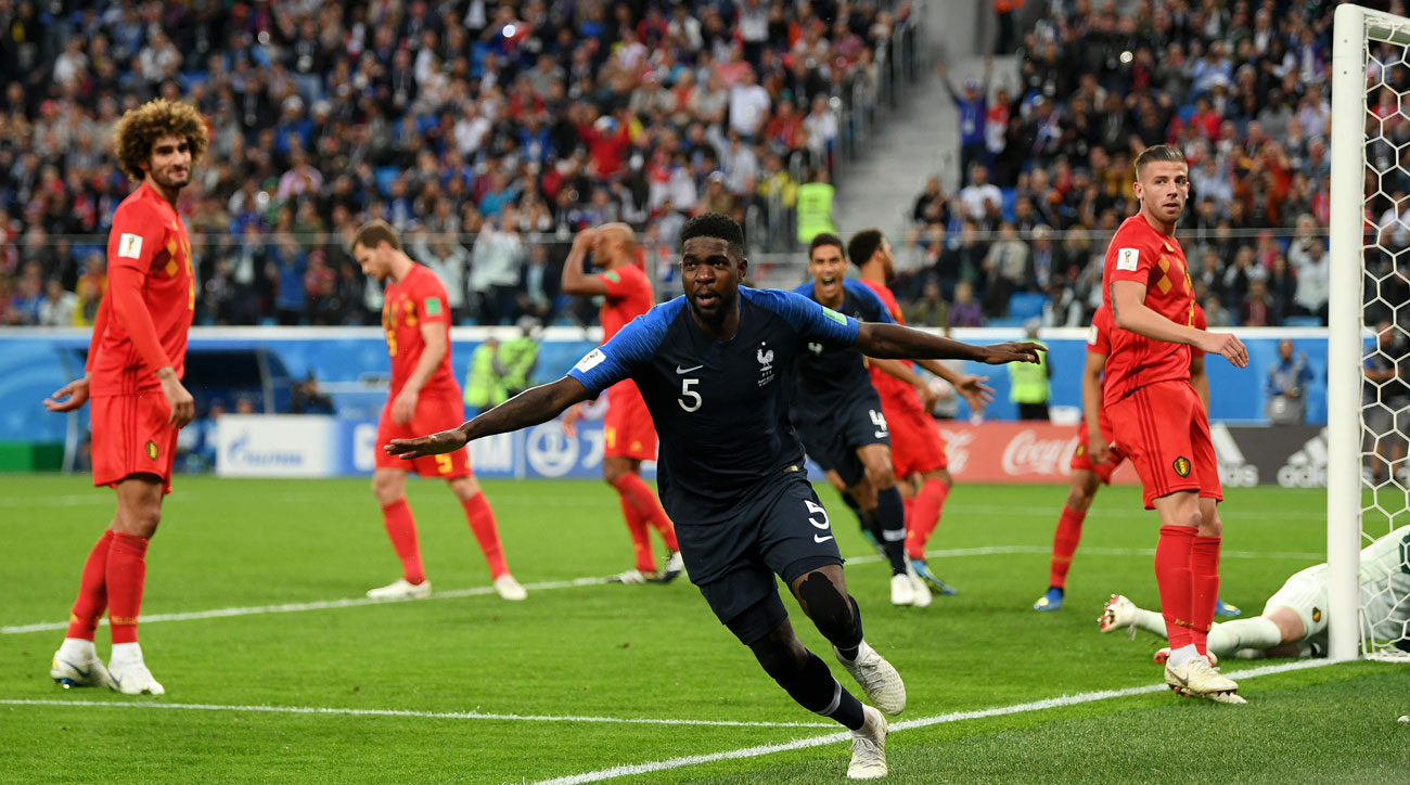 Samuel Umtiti scores for France vs. Belgium in the World Cup semifinals