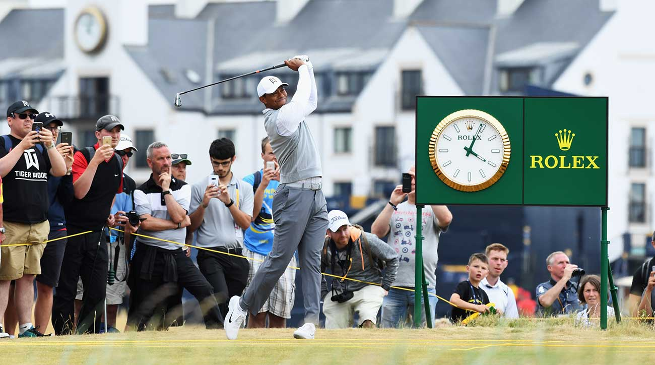 Tiger Woods tees off during a practice round at Carnoustie on Sunday.