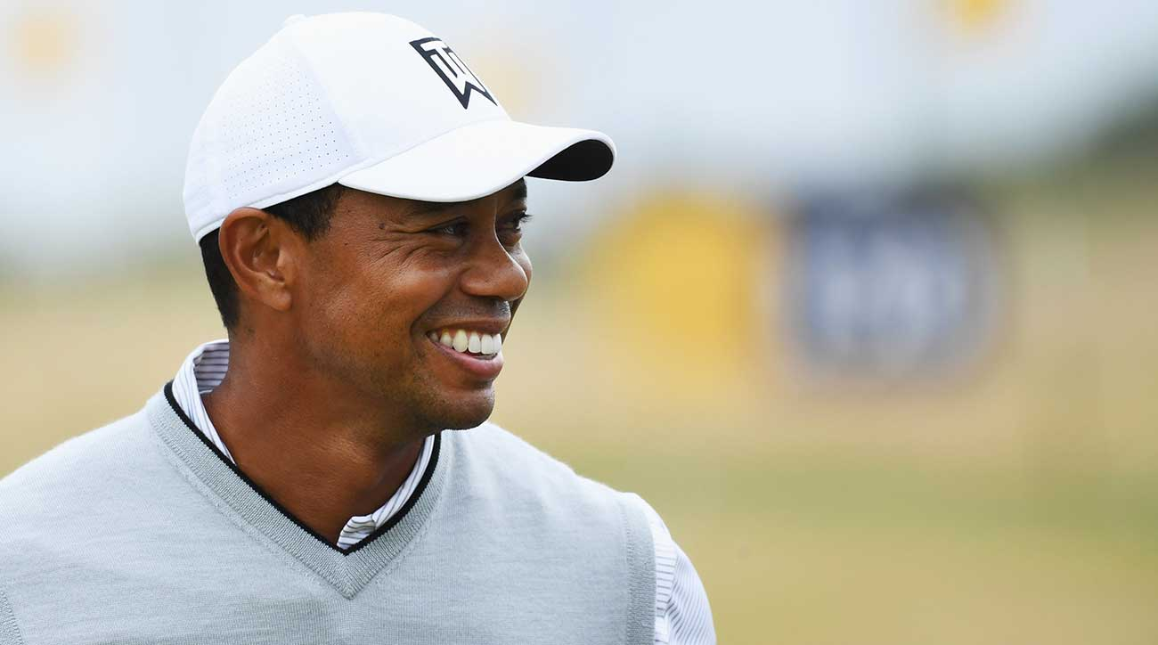 Tiger Woods practiced at Carnoustie on Sunday prior to the 147th British Open.