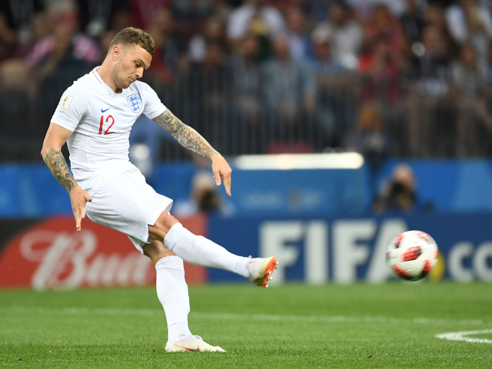 Kieran Trippier scores for England vs. Croatia in the World Cup semifinals