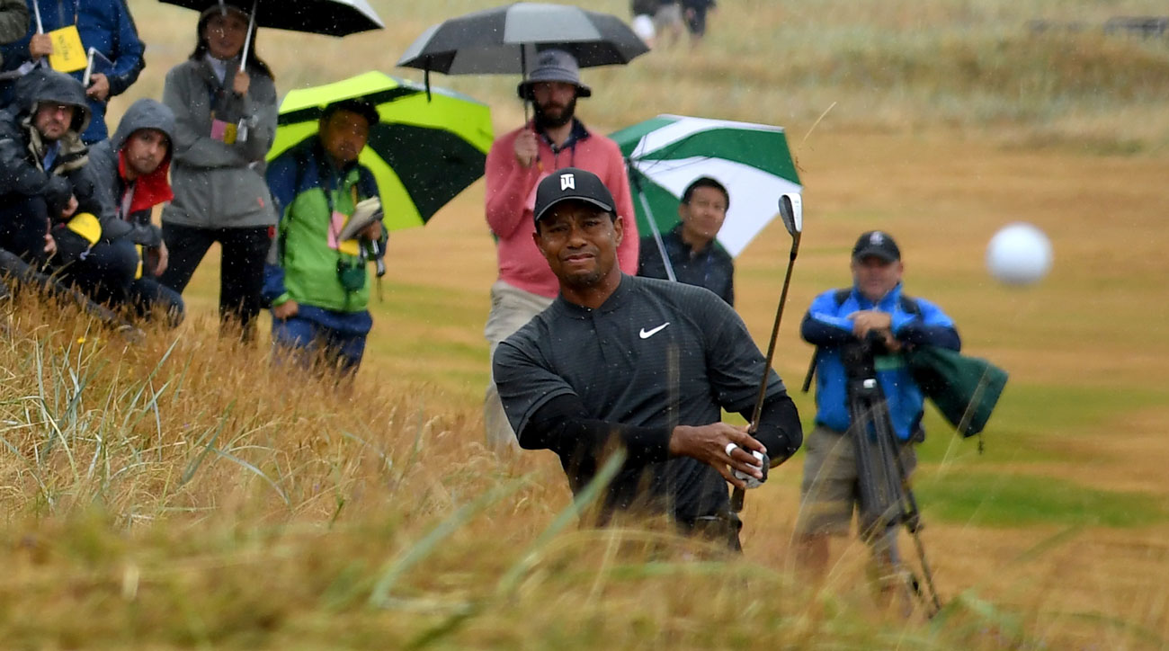 tiger woods shoots 71 at british open second round