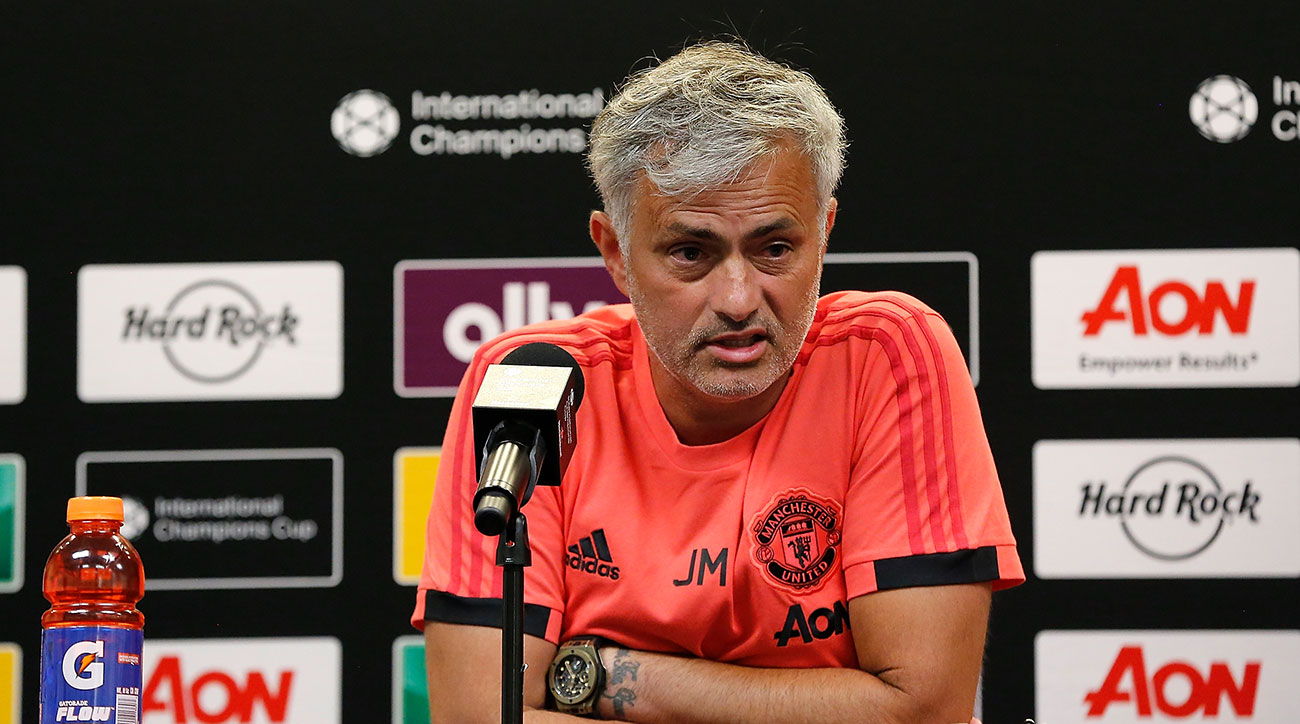 Ann Arbor, MI - July 28:Jose Mourinho speaking to the press after Man United's 4-1 loss to Liverpool