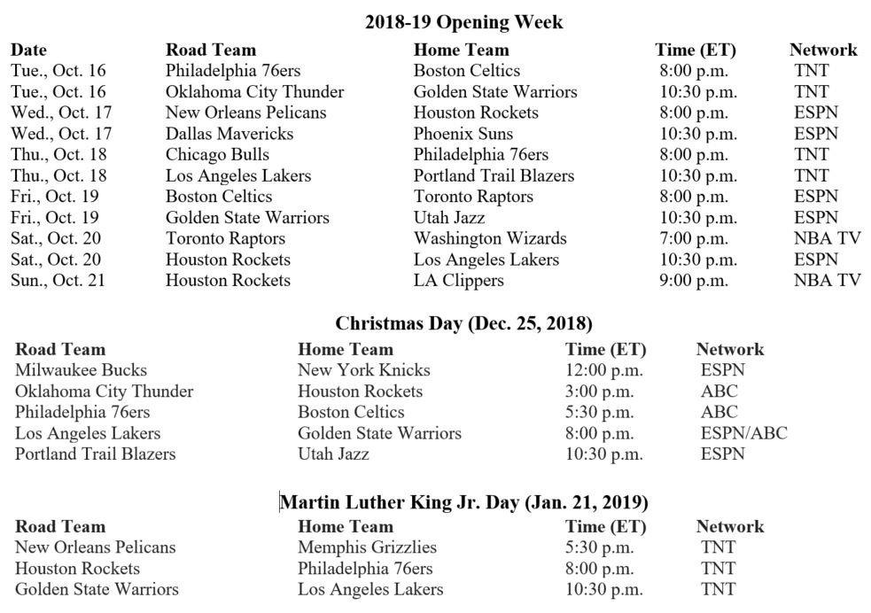 nba schedule opening week