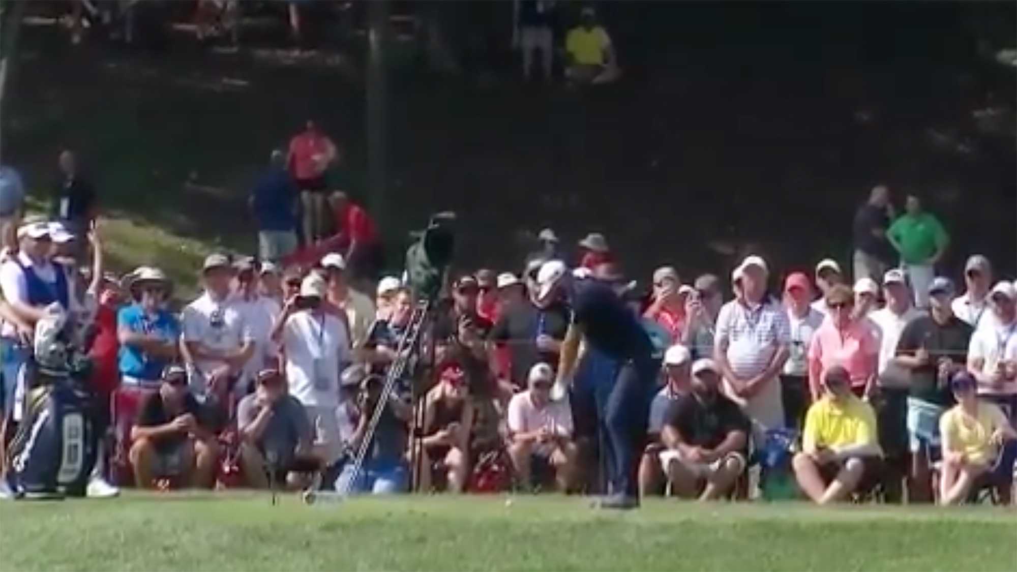 Dustin Johnson PGA Championship hit by ball bellerive