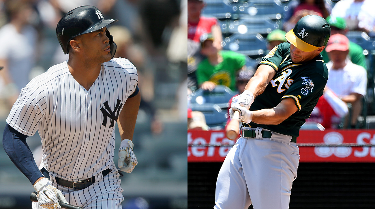 Yankees' Giancarlo Stanton and Athletics' Matt Olson