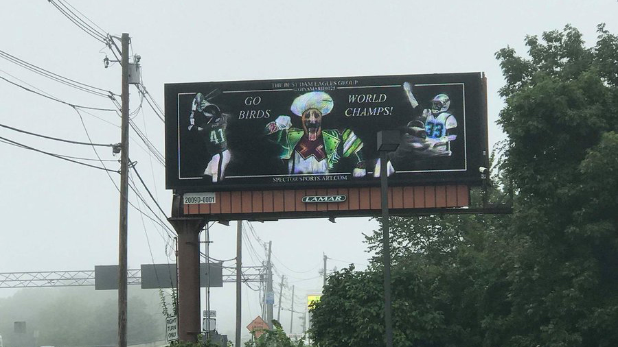 Eagles billboard outside Gillette Stadium before Eagles game