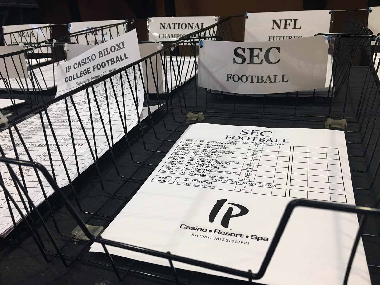 An SEC betting sheet in Biloxi