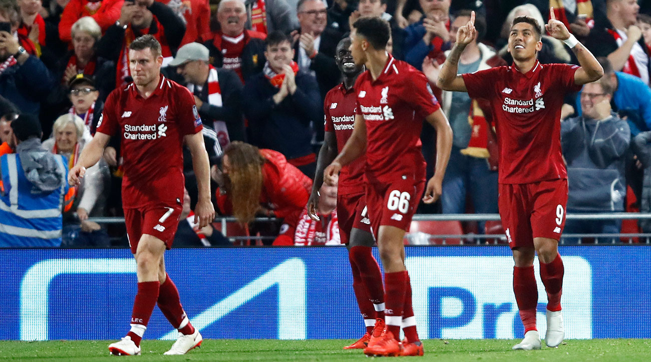 Roberto Firmino scores for Liverpool vs. PSG