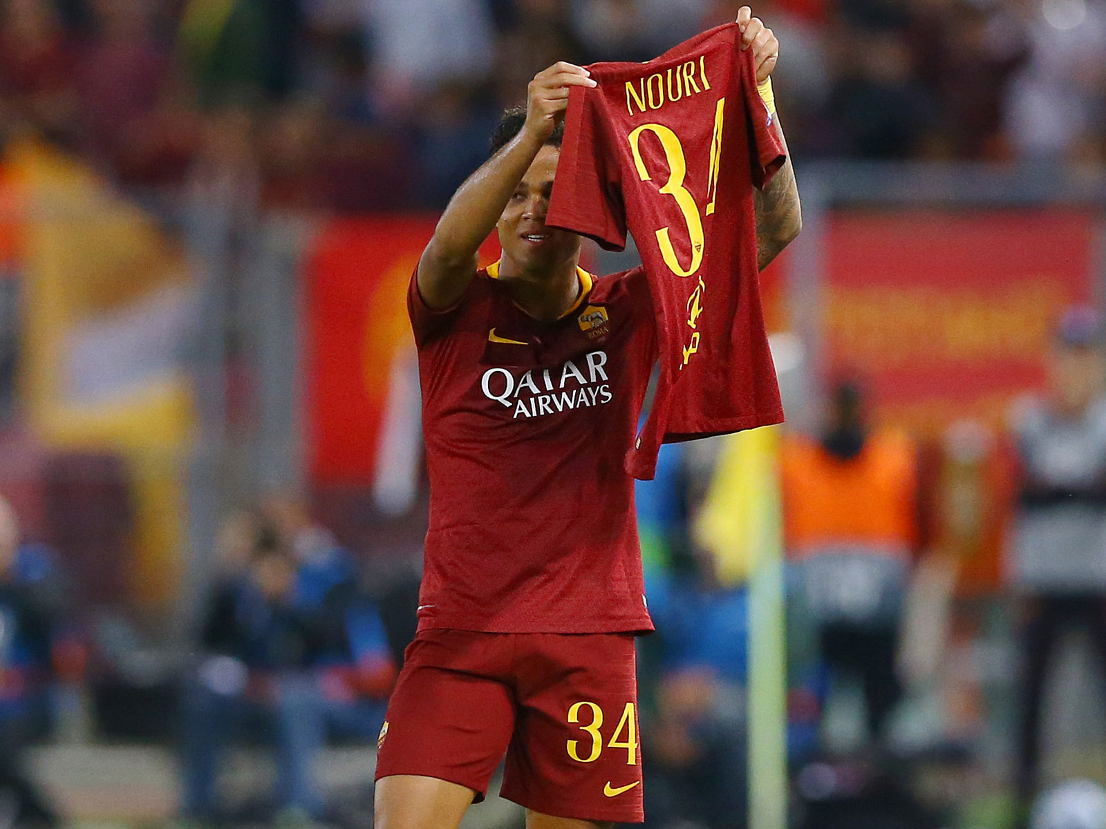 Roma's Justin Kluivert scores in Champions League