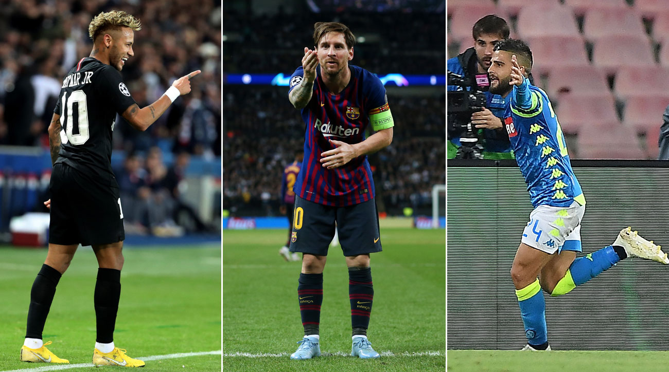 Neymar, Messi and Lorenzo Insigne all score in Champions League wins