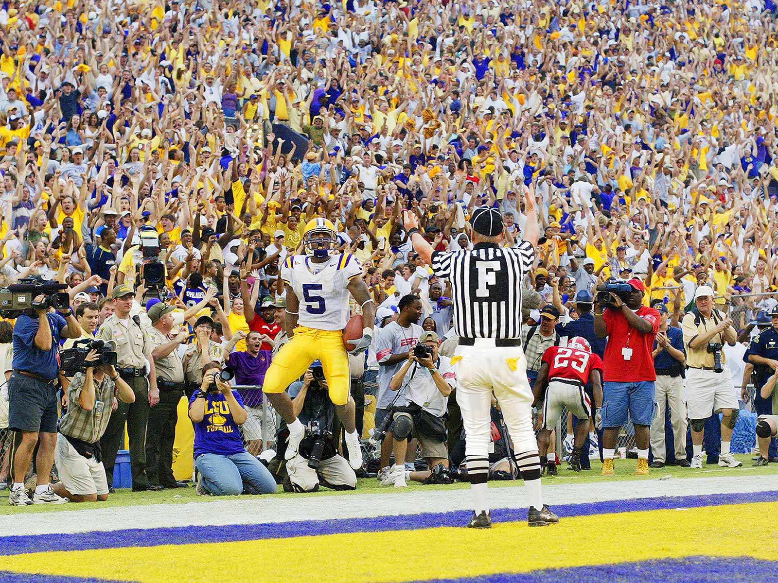 LSU vs. Georgia, 2003: Skylar Green celebrates touchdown from Matt Mauk