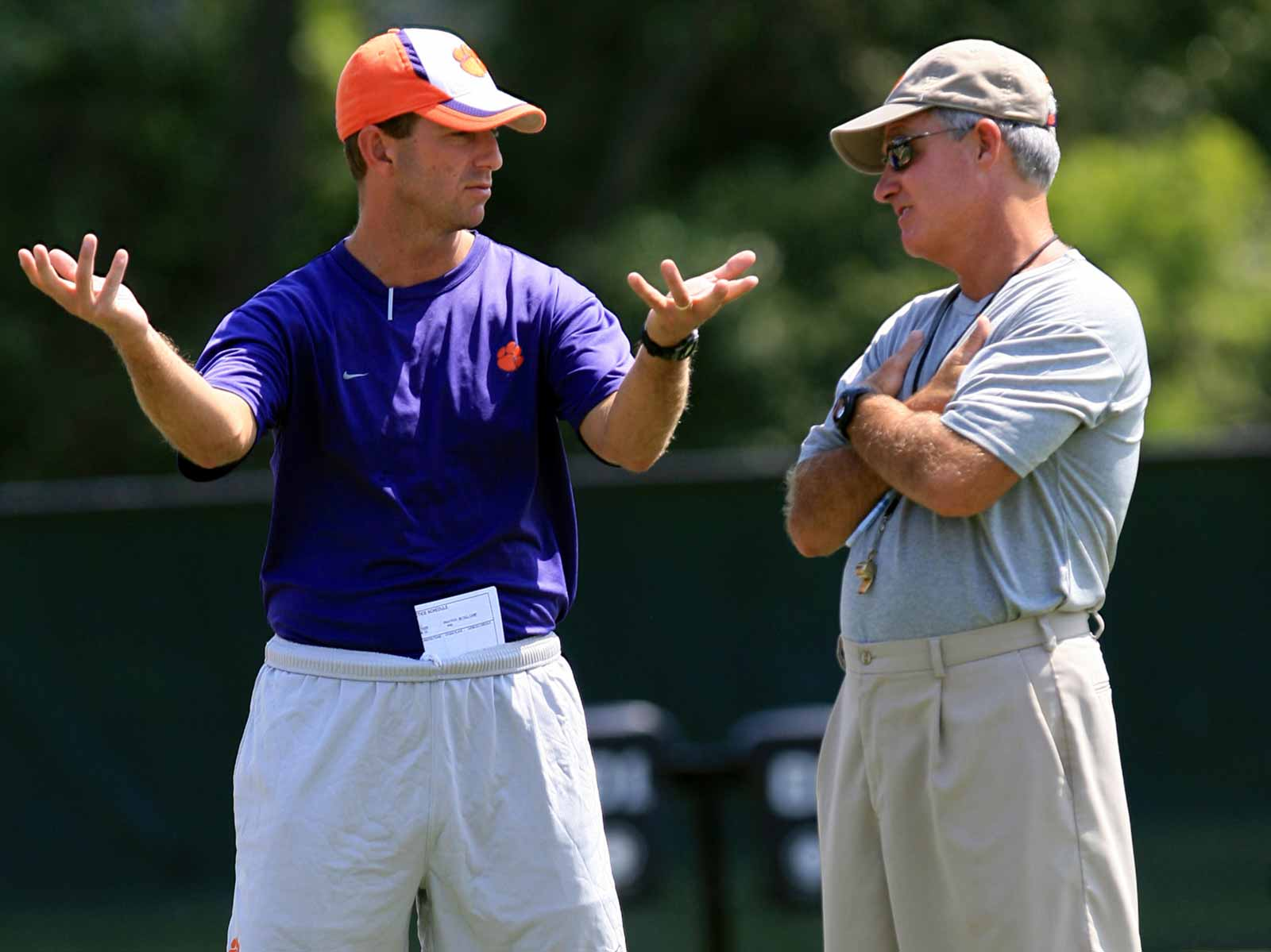 Dabo Swinney and Tommy Bowden at Clemson practice