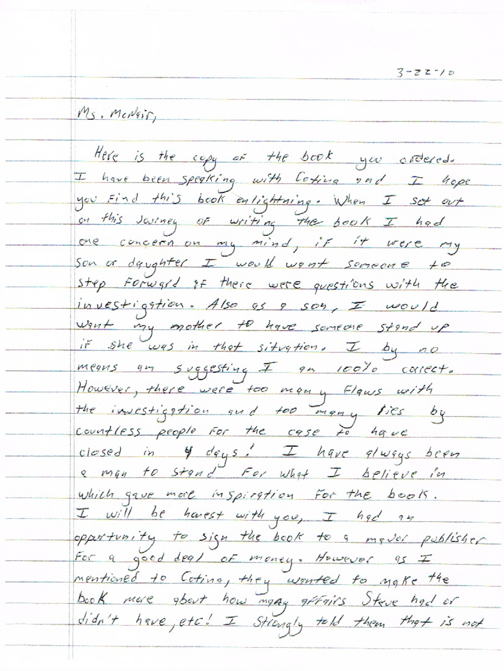 Vincent Hill letter to Lucille McNair: Steve McNair podcast