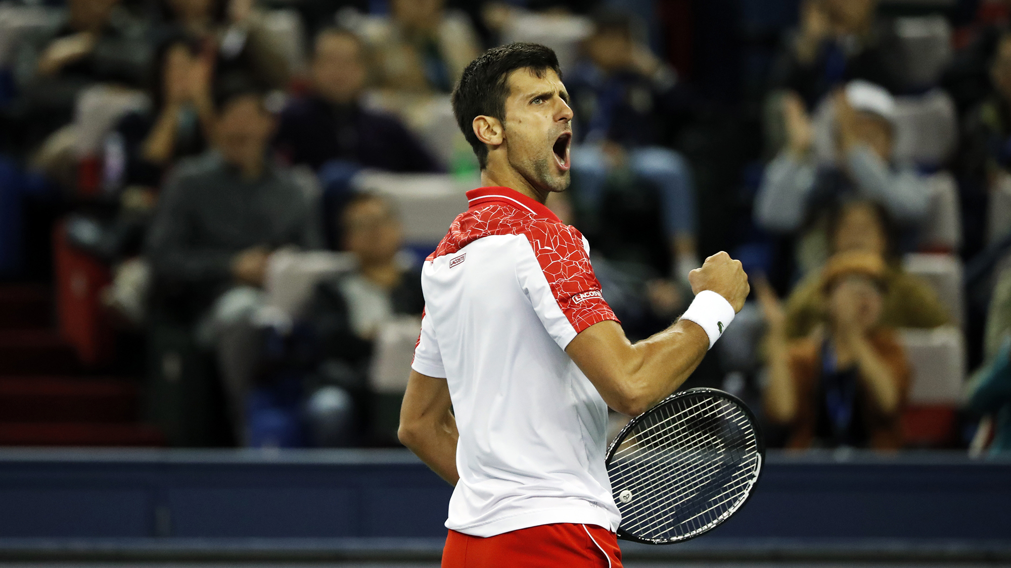 Novak Djokovic won at the 2018 tennis masters in Shanghai, China on 14 October 2018