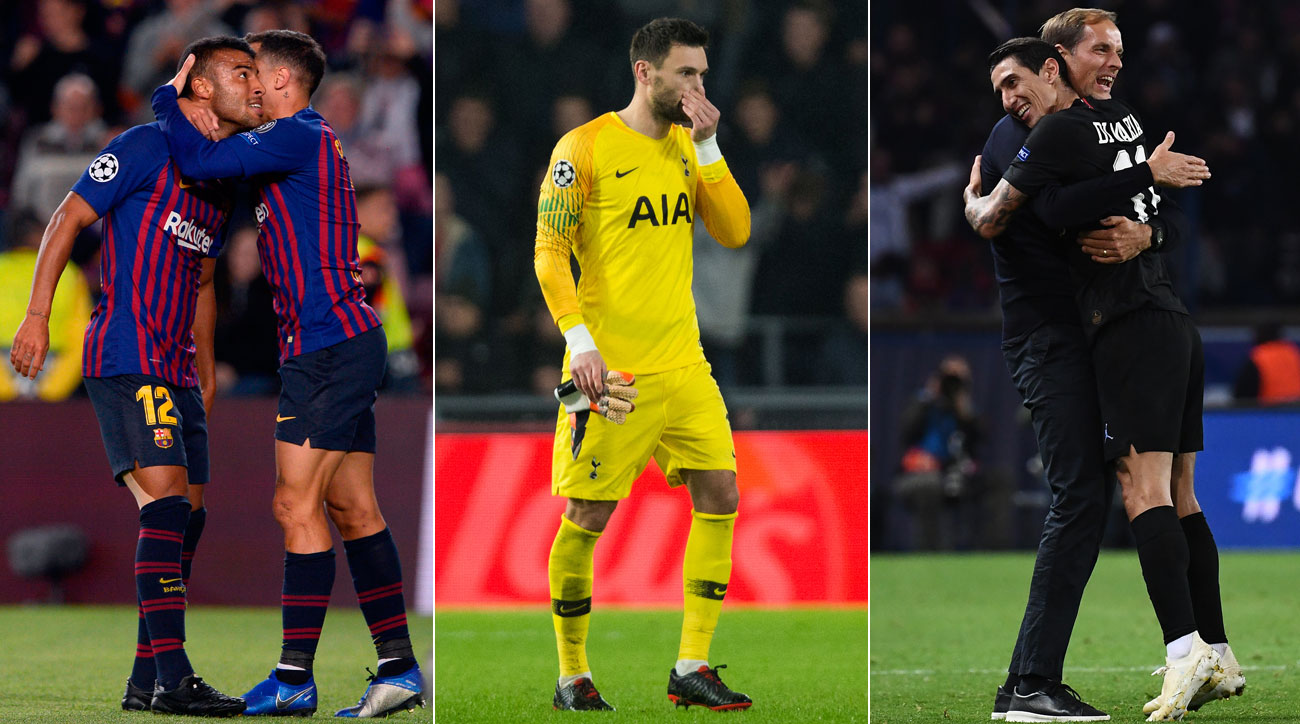 Barcelona wins while Tottenham, PSG draw in the Champions League