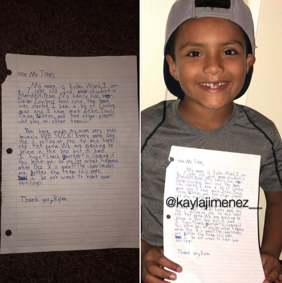 7-year-old crushes Dallas Cowboys in letter to Jerry Jones