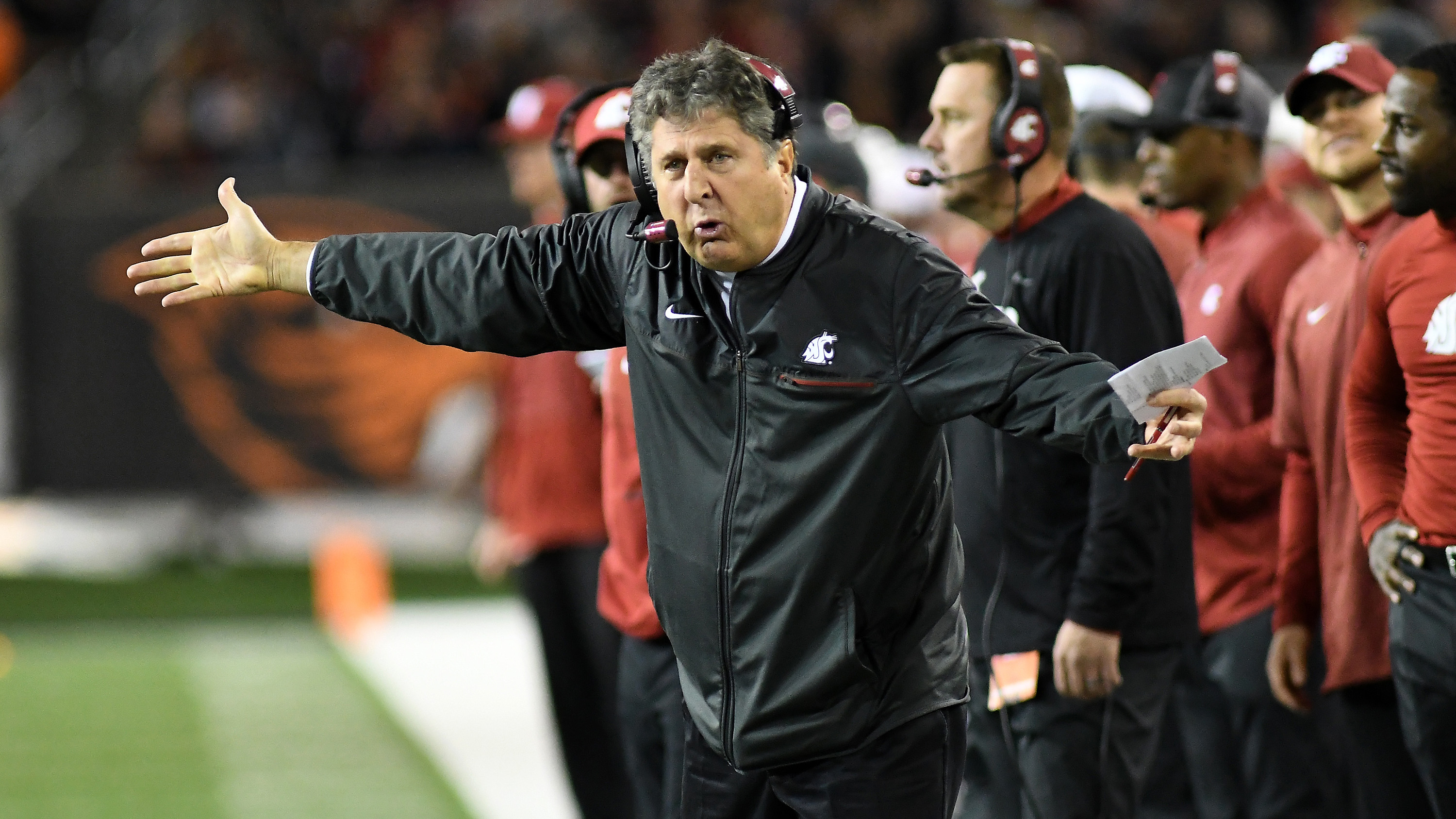 Mike Leach answers question about Pac-12 coach brawl (video)