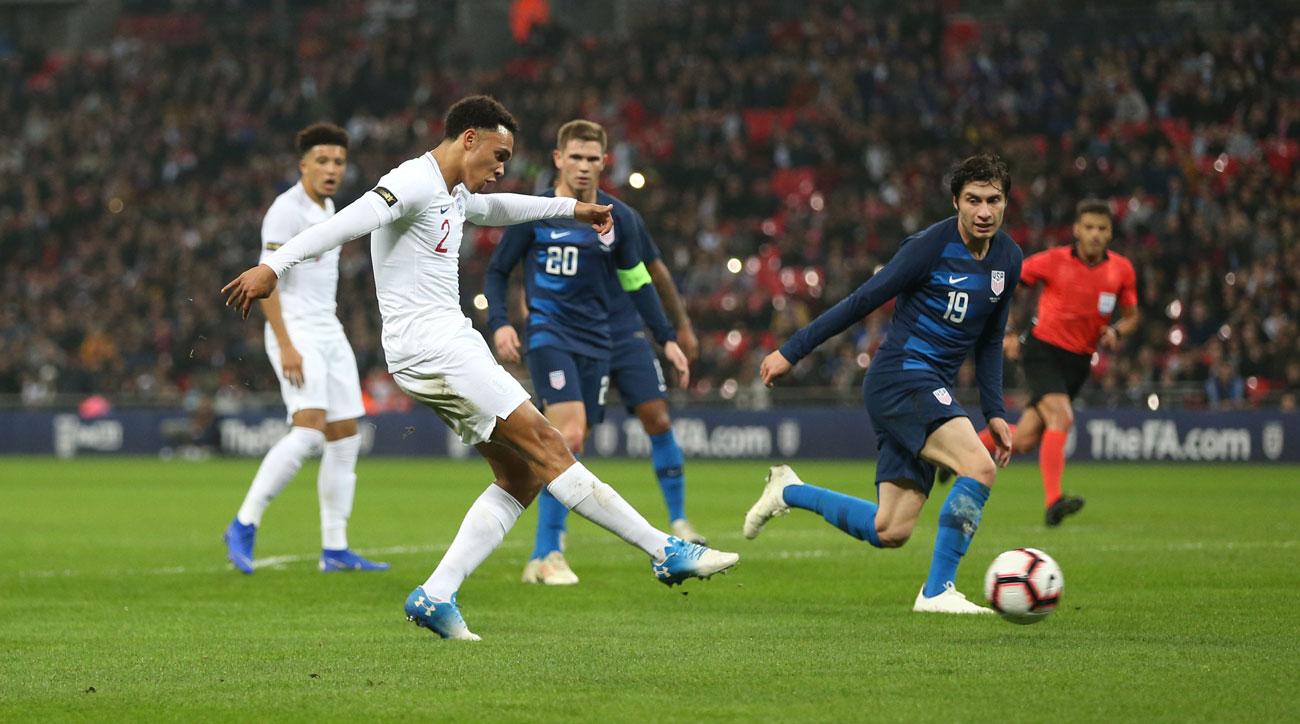 England's Trent Alexander-Arnold scores vs. the USA
